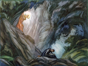 """Ignatius writes the Spiritual Exercises in the cave at Manresa."" Painting by Carlos Saenz de Tejada, 1897-1958."
