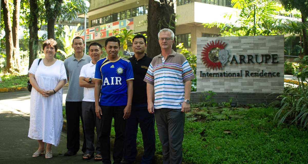 Dana Zumr (far left) and Fr Anton Kurmann SJ (far right) with scholastics from Myanmar and Timor-Leste supported by the Swiss Mission Office | Photo by Harry Setianto SJ