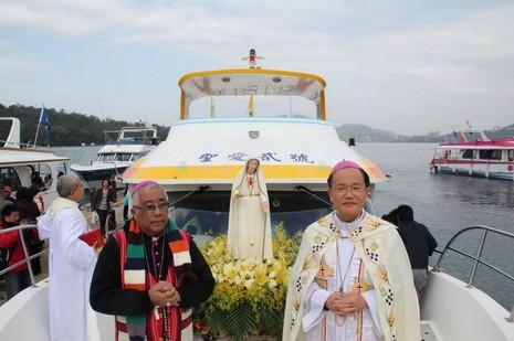 台菲合作下首座葡國認證法蒂瑪聖母像安座日月潭