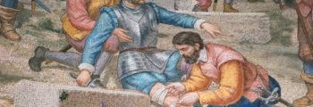 1521年 邦布羅納戰役中負傷,回羅耀拉老家療養