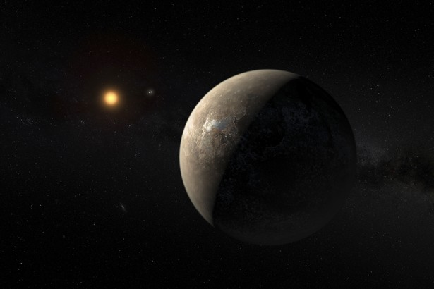 The planet Proxima b orbiting the red dwarf star Proxima Centauri, the closest star to our Solar System, is seen in an undated artist's impression