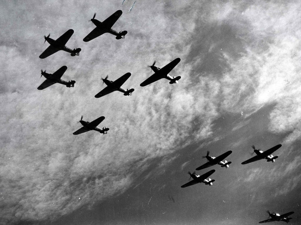 Hawker Hurricanes flying in formation, Battle of Britain, World War II, 1940. Hawker Hurricanes of Fighter Command, a first line of defence against the incoming German bombers attacking England. Fought between 10 July and 31 October 1940, the Battle of Britain was the first major battle to be won in the air. The RAF's victory in the battle effectively prevented the Germans from attempting an invasion. (Photo by Ann Ronan Pictures/Print Collector/Getty Images)