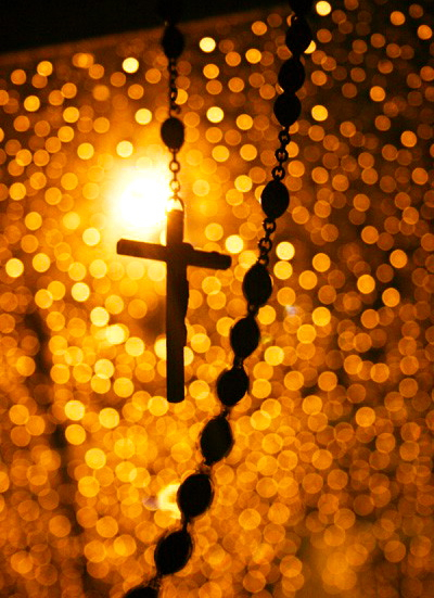 rosary gold background